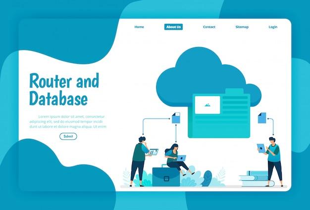 Zielseitenvorlage des cloud- und ordnerspeicherdienstes. organisieren sie netzwerkdateien und verbindungen in der cloud, um an der datenbank zu arbeiten. illustration von landing page, website, mobilen apps, poster, flyer