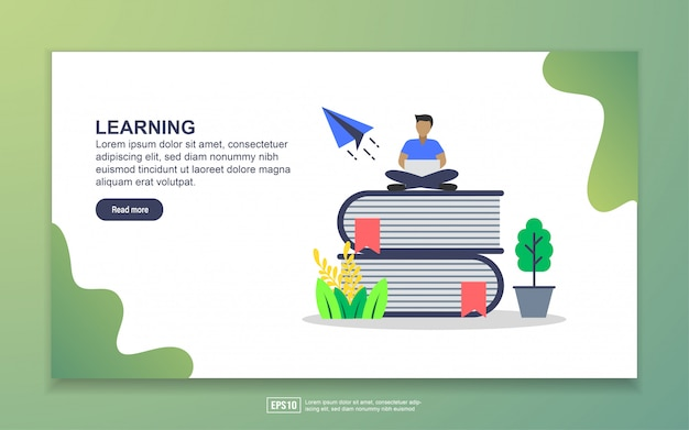 Zielseitenvorlage des lernens. modernes flaches konzept des entwurfes des webseitenentwurfs für website und bewegliche website