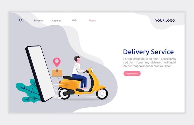 Zielseitenvorlage des lieferservicekonzepts. kurier liefert paket an kunden.