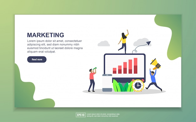 Zielseitenvorlage des marketings. modernes flaches konzept des entwurfes des webseitenentwurfs für website und bewegliche website