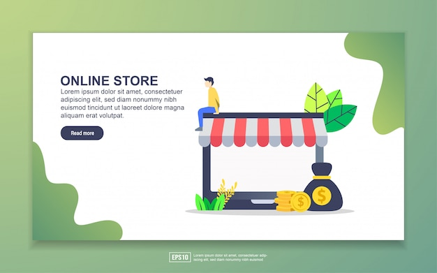 Zielseitenvorlage des online-shops. modernes flaches konzept des entwurfes des webseitenentwurfs für website und bewegliche website.