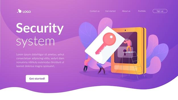 Zielseitenvorlage des sicherheitssystems