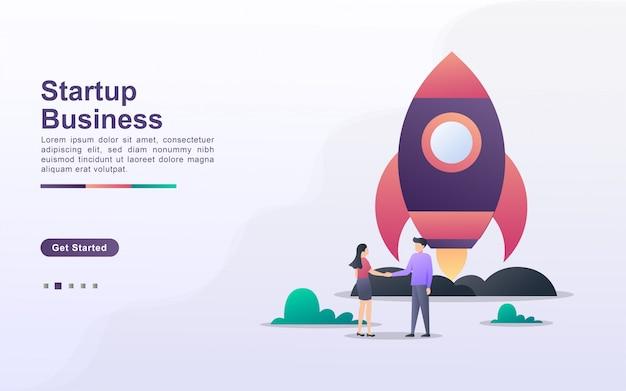 Zielseitenvorlage des startup-unternehmens im verlaufseffektstil