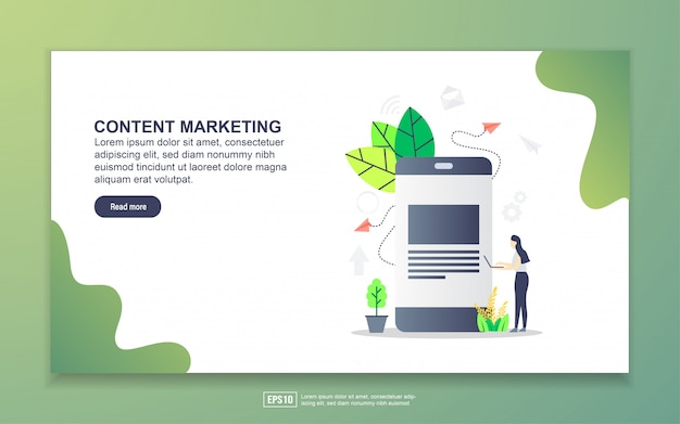 Zielseitenvorlage für content-marketing. modernes flaches konzept des entwurfes des webseitenentwurfs für website und bewegliche website.
