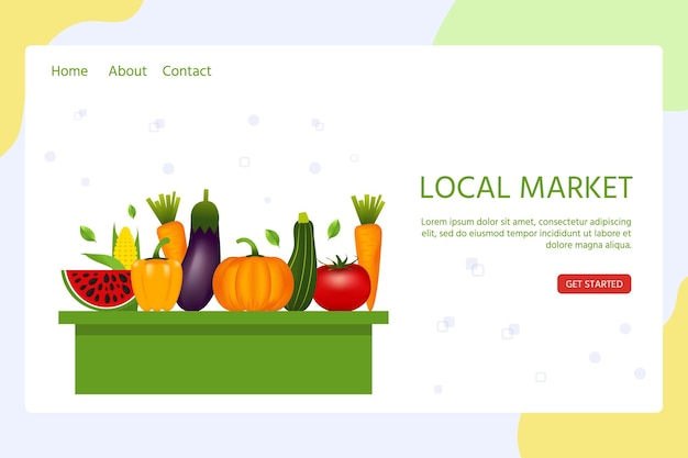 Zielseitenvorlage für den lokalen markt mit realistischem gesundem gemüse wie: karotte, tomate, pfeffer, aubergine, kürbis. vektorbanner über ernährung, öko-lebensmittel