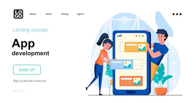 Zielseitenvorlage für die app-entwicklung mit personencharakter