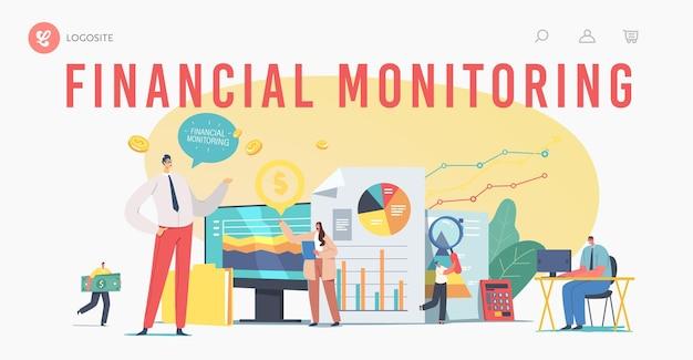 Zielseitenvorlage für die finanzüberwachung. winzige geschäftsfiguren, die daten analysieren, berichten auf einem riesigen dashboard. ergebnisse der finanzinvestitionsleistung, arbeitstreffen. cartoon-menschen-vektor-illustration