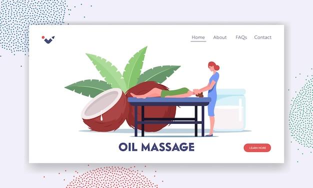 Zielseitenvorlage für die körperpflegebehandlung. weibliche figur, die auf dem tisch liegt, erhält eine entspannende rückenmassage mit kokosöl im spa-salon mit einem professionellen therapeuten. cartoon-menschen-vektor-illustration