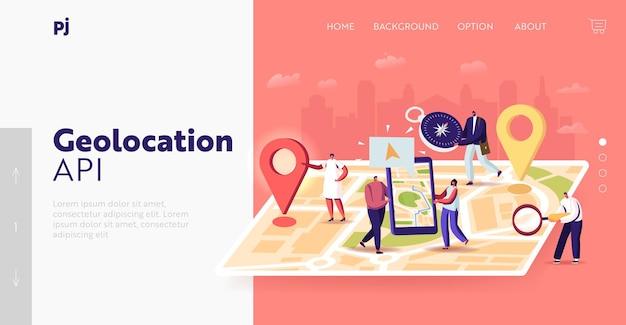 Zielseitenvorlage für die navigationspositionierung. winzige charaktere auf einer riesigen standortkarte, die leute verwenden die online-anwendung auf dem smartphone mit geolocation-app-pins. route suchen. cartoon-vektor-illustration