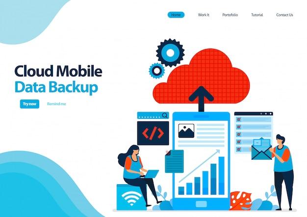 Zielseitenvorlage für die sicherung mobiler arbeitsdaten und persönlicher dokumente in cloud computing.