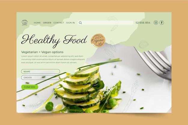 Zielseitenvorlage für ein gesundes restaurant