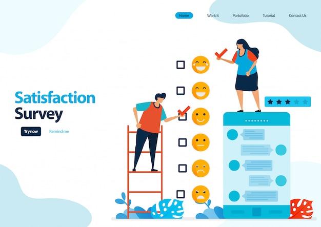 Zielseitenvorlage für emoticon-zufriedenheitsumfragen. feedback-bewertung und sterne für apps-dienste.