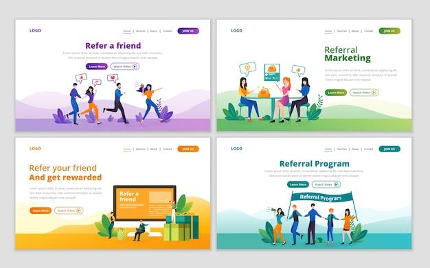 Zielseitenvorlage für empfehlungsmarketing, affiliate-marketing, geschäftspartnerschaft und empfehlungsprogrammkonzept