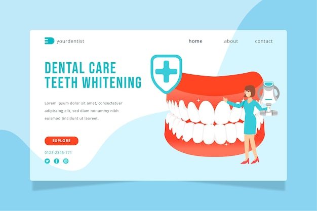 Zielseitenvorlage für flache zahnpflege