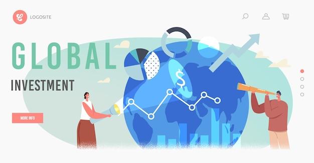 Zielseitenvorlage für globale investitionsmöglichkeiten. charaktere geschäftsmann mit spyglass und geschäftsfrau mit taschenlampe bei earth globe mit data graphs, charts. cartoon-menschen-vektor-illustration