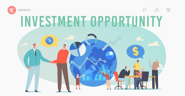 Zielseitenvorlage für globale investitionsmöglichkeiten. geschäftsleute schließen geschäfte mit ausländischen partnern ab und suchen nach investitionslösungen für unternehmen. cartoon-menschen-vektor-illustration
