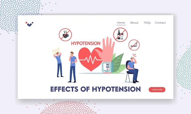 Zielseitenvorlage für hypotonie-effekte. charaktere mit kardiologischen krankheitssymptomen, die den arteriellen blutdruck messen, menschen, die den systolischen und diastolischen druck überprüfen. cartoon-vektor-illustration