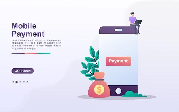 Zielseitenvorlage für mobiles bezahlen im verlaufseffektstil
