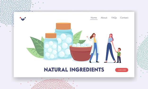 Zielseitenvorlage für natürliche inhaltsstoffe. kräuterapotheker-charakter oder alternativmediziner bieten dem patienten pflanzliche medikamente, alternativmedizin. cartoon-menschen-vektor-illustration