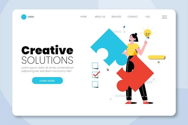 Zielseitenvorlage für organische flache kreative lösungen