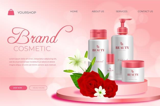 Zielseitenvorlage für realistische kosmetikprodukte