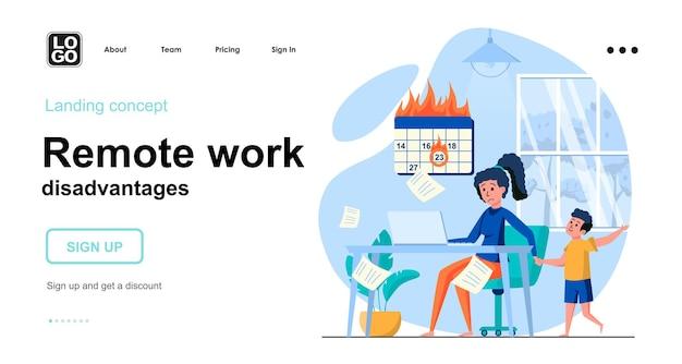 Zielseitenvorlage für remote-arbeitsnachteile