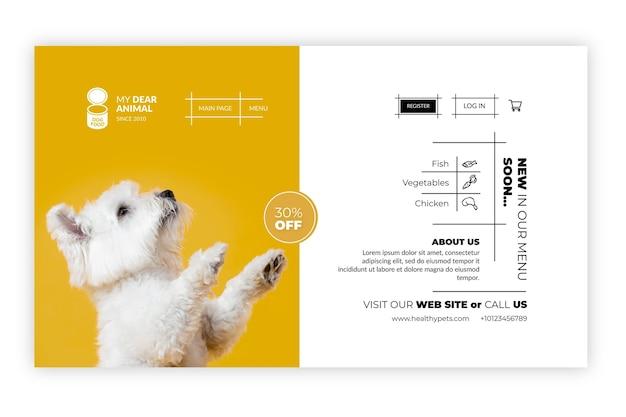 Zielseitenvorlage für tierfutter animal