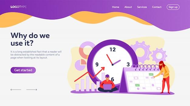 Zielseitenvorlage für timing und projektplanung