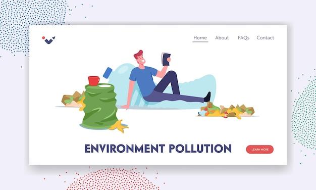 Zielseitenvorlage für umweltverschmutzung. männlicher charakter lebt im müll, mann sitzt auf einer riesigen plastikflasche mit müll herum. depression, geisteskrankheit, versagen. cartoon-menschen-vektor-illustration