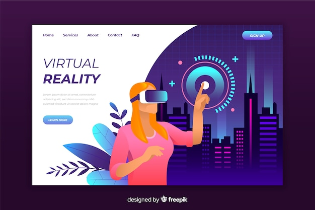 Zielseitenvorlage für virtuelle realität