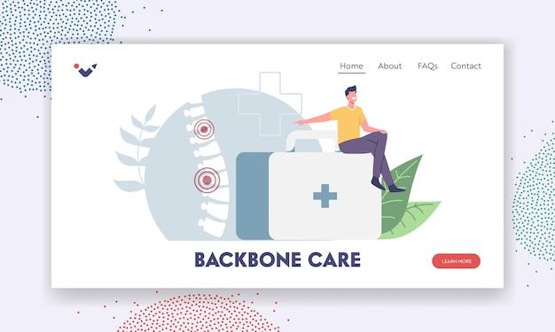 Zielseitenvorlage für wirbelsäulenverformung. winziger männlicher charakter sitzt auf einer riesigen medic-box, die auf eine wunde menschliche wirbelsäule mit rückenschmerzen oder hexenschussentzündung, skelettskoliose zeigt. cartoon-vektor-illustration