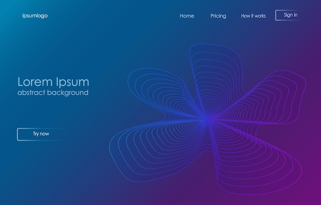 Zielseitenvorlage mit abstrakten geometrischen formen für das design von geschäftswebsites