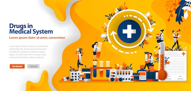 Zielseitenvorlage mit drogen in medizinischen systemen, medikamenten und medizinischen geräten und kreuz