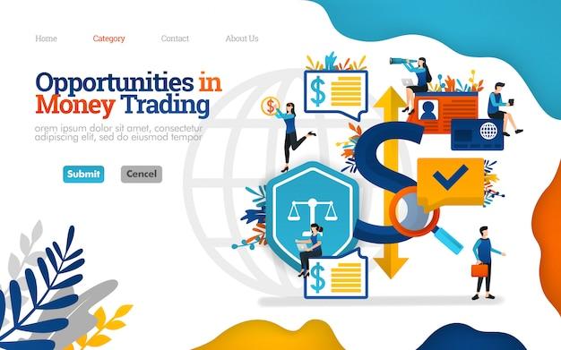 Zielseitenvorlage. möglichkeiten im geldhandel. investitionsentscheidungen treffen. vektor-illustration