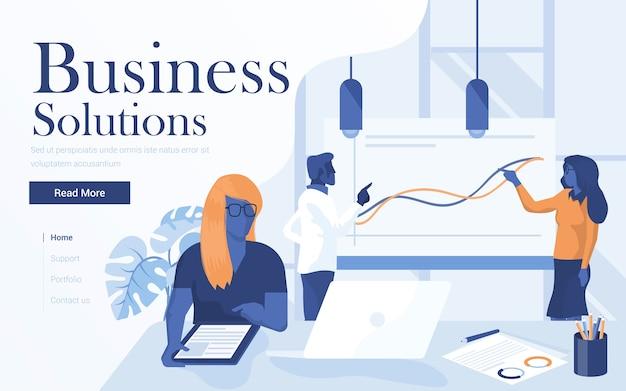 Zielseitenvorlage von business solutions. team von jungen leuten, die im arbeitsbereich zusammenarbeiten. moderne webseite für website und mobile website.