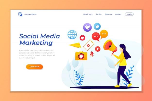 Zielseitenvorlage von social media marketing