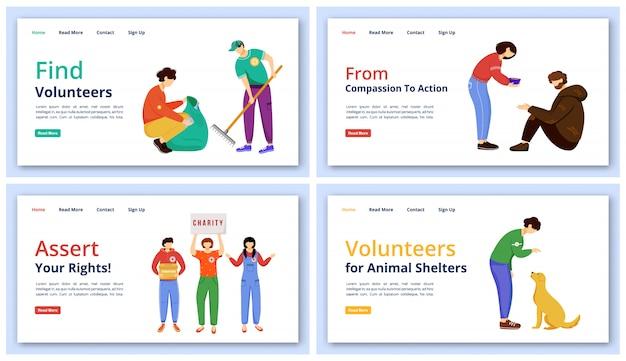 Zielseitenvorlagen für freiwillige aktivitäten festgelegt. charity-website-schnittstellenidee mit abbildungen. homepage-layout für soziale betreuung und support. freiwilligenarbeit web-cartoon-konzept