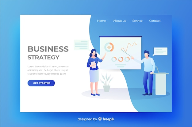 Zielseitenwebsite der geschäftsstrategie