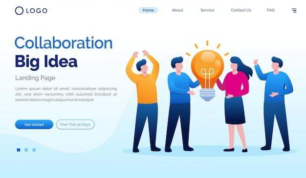 Zielseitenwebsite-illustrationsschablone der großen idee der zusammenarbeit