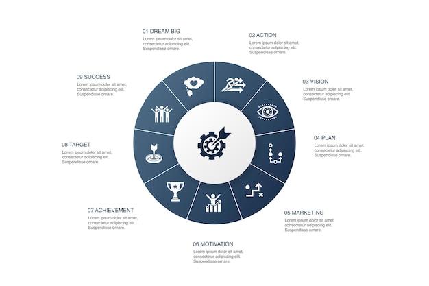 Zielsetzung infografik 10 schritte kreisdesign. traum groß, aktion, vision, strategie einfache symbole