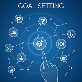Zielsetzung konzept, blauer hintergrund. träume groß, action, vision, strategiesymbole