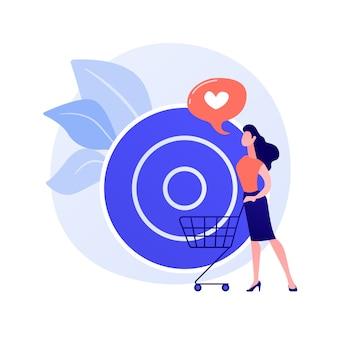Zielverkäufe. kundenattraktionsgenauigkeit, einkaufsliste, konsumidee. einzelhandelsdienstkunde, käufer mit wagenzeichentrickfigur.