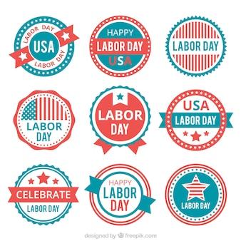 Ziemlich amerikanische aufkleber arbeits tag im vintage-stil