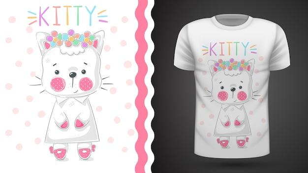 Ziemlich kittty idee für druckt-shirt