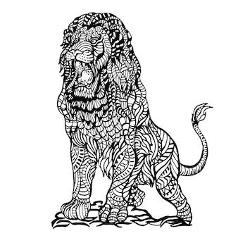 Zier hand gezeichnet wütend löwe
