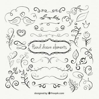Zier hand gezeichneten elemente sammlung