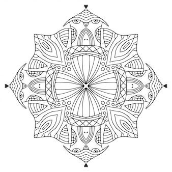 Zier-mandala. lineares ornamentmuster. malbuch seite.