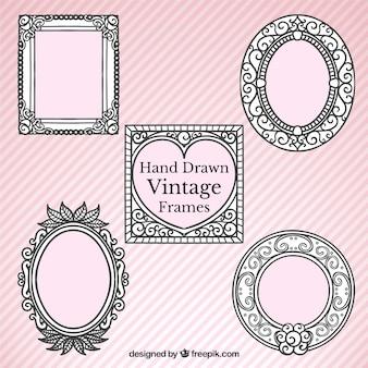 Zier retro hand gezeichnet frames
