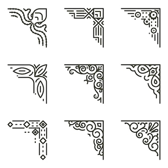 Zierlineare ecken. kalligraphische linienecken für vintage-rahmenillustration