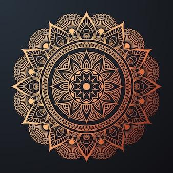 Ziermandala mit goldener arabeskenblumiger islamischer ostart